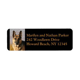 German Shepherd Dog Face Return Address Label