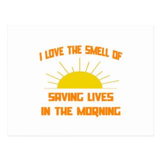 Geruch des Rettens von Leben am Morgen Postkarten