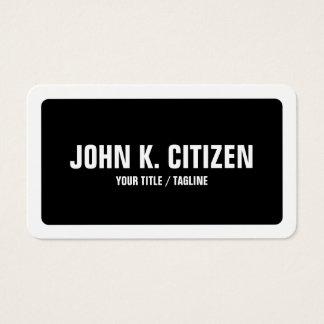 Gerundetes schwarzes u. weißes mutiges einfaches visitenkarte