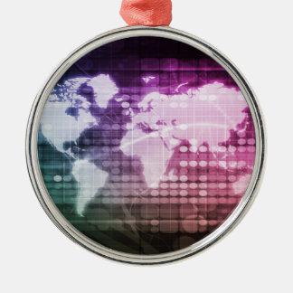Gesamt-Netzwerk Verbindung und integriertes System Rundes Silberfarbenes Ornament