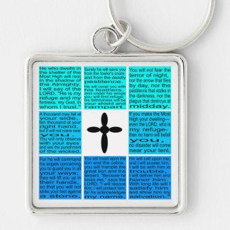 Gesamter Psalm 91 Keychain Silberfarbener Quadratischer Schlüsselanhänger
