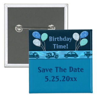 Gesamtgeburtstags-Junge im Blau retten Datum Quadratischer Button 5,1 Cm