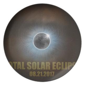 Gesamtkorona-Text-Farbe der Sonnenfinsternis-2017 Teller