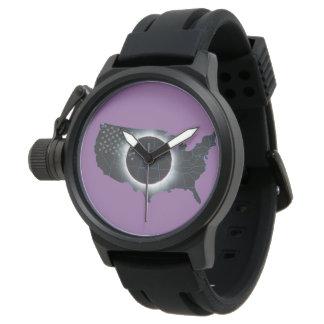 Gesamtschwarz-Gummibügel-Uhr der Uhr