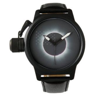 Gesamtschwarz-Leder-Uhr der Sonnenfinsternis-2017 Uhr