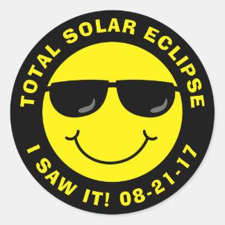 Gesamtsolareklipse-cooler Smiley Runder Aufkleber