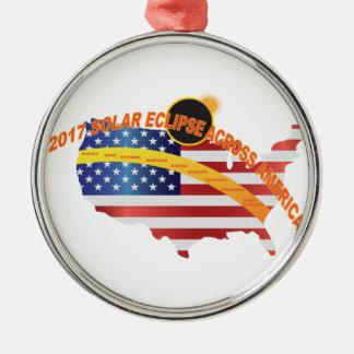 GesamtSonnenfinsternis 2017 über USA-Karte Silbernes Ornament