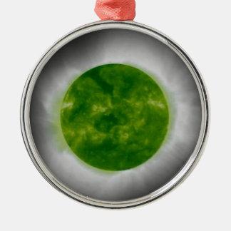 GesamtSonnenfinsternis-Grün-Korona Silbernes Ornament
