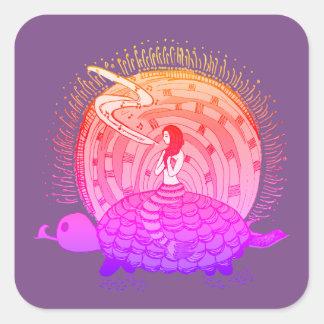 Gesang-Meerjungfrau Quadratischer Aufkleber