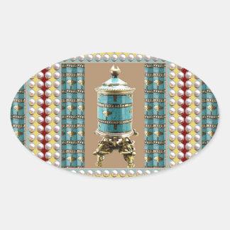 Gesang-Rad, Klingel, Schiff - Buddhismus Nepal Ovaler Aufkleber
