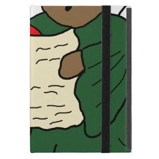 Gesang-Teddybär-Engel ist rote und grüne Roben Hülle Fürs iPad Mini