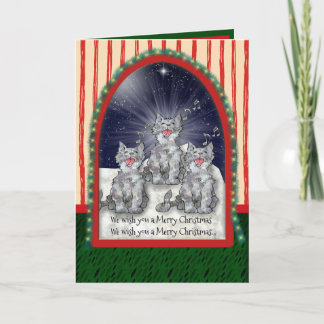 Singing Watercolor Christmas Cats Personalized
