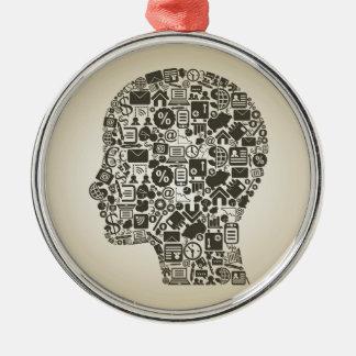 Geschäft ein Kopf Silbernes Ornament