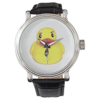 Geschäfts-Ente, Gummiente mit einer Krawatten-Uhr Armbanduhr