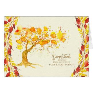 Geschäfts-Erntedank für Kunden-Herbst-Baum Grußkarte