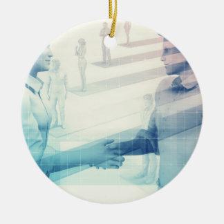 Geschäfts-Händedruck auf Digitaltechnik Keramik Ornament