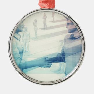 Geschäfts-Händedruck auf Digitaltechnik Silbernes Ornament