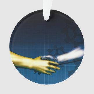 Geschäfts-Integrations-Netz mit den Händen, die AB Ornament