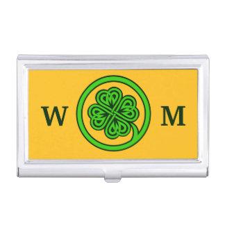 Geschäfts-Kartenhalter des Stammes- Kleeblatts Visitenkarten Etui