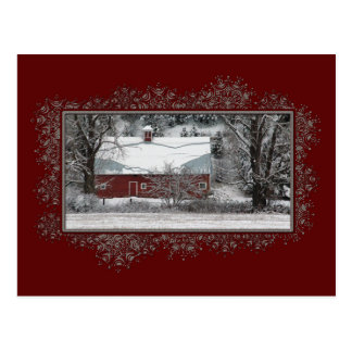 Geschäfts-Land-Scheunen-Weihnachtspostkarte Postkarte