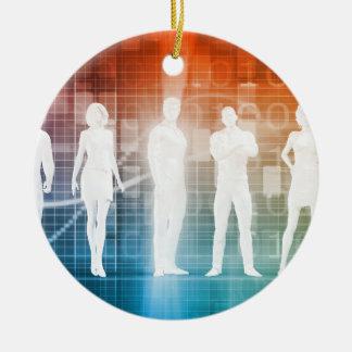 Geschäfts-Leute stehend in einer Reihe überzeugt Keramik Ornament