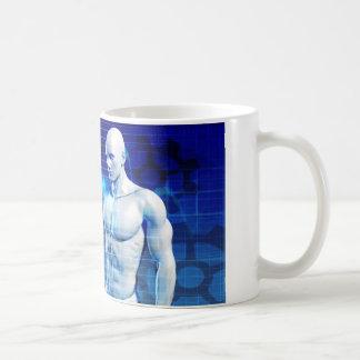 Geschäfts-Person, die aktive Diagramme und Kaffeetasse