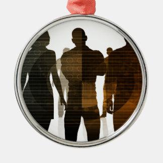 Geschäfts-Team der Fachleute stehend für Karriere Rundes Silberfarbenes Ornament