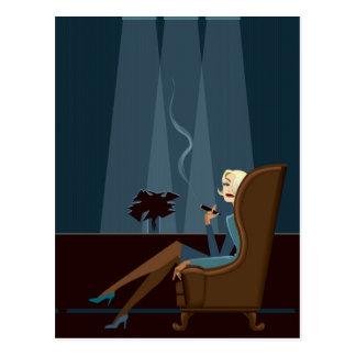 Geschäftsfrau-rauchende Zigarre Postkarte