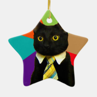 Geschäftskatze - schwarze Katze Keramik Ornament