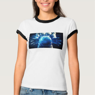 Geschäftsmann-Führungskraft, die Kugel hält T-Shirt