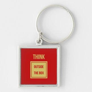 Geschäftszitat denken außerhalb des Kastenrotes Schlüsselanhänger
