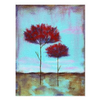 Geschätzte, abstrakte Kunst-Landschaftsrot-Bäume Postkarte