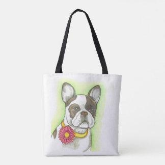 Gescheckte französische Bulldogge mit Tasche