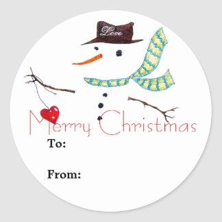 Geschenk-Aufkleber-WeihnachtsSchneemann-Aufkleber Runder Aufkleber