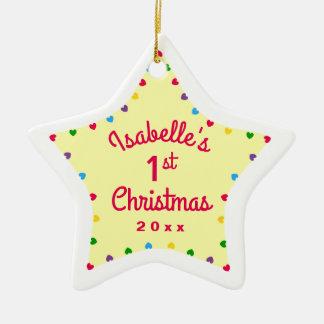 Geschenk des Herz-Stern-1. ersten Babys Weihnachts Keramik Ornament