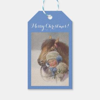 Geschenk etikettiert frohe Weihnacht-süßes antikes Geschenkanhänger