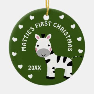 Geschenk-Kreis des Spaßzebra-Babys 1. erster Keramik Ornament