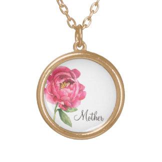 Geschenk-Pfingstrosen-Halskette der Mutter Tages Vergoldete Kette