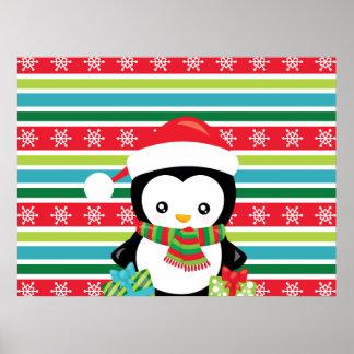 Geschenk-Pinguin auf gestreiftem Poster