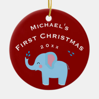 Geschenk-Rot des Spaß-Elefant-Babys 1. erstes Keramik Ornament