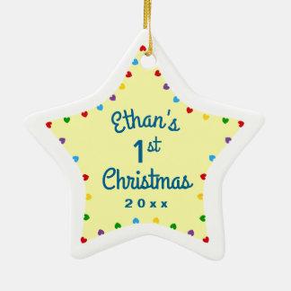 Geschenk-Stern des Herz-1. ersten Babys Weihnachts Keramik Ornament