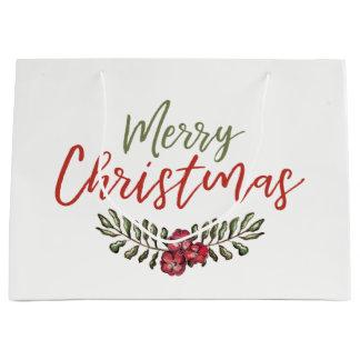 Geschenk-Tasche des WeihnachtsblumenKranz-| Große Geschenktüte