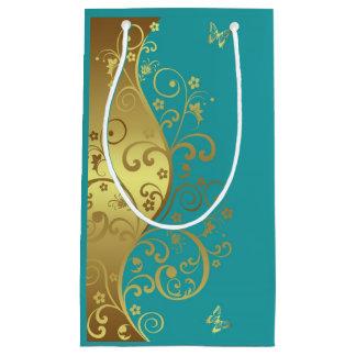 Geschenk-Tasche--GoldWirbel u. aquamarines Kleine Geschenktüte