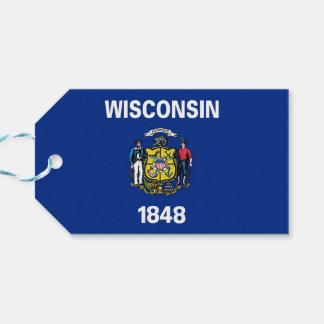 Geschenk-Umbau mit Flagge von Wisconsin-Staat, USA Geschenkanhänger