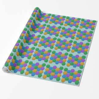Geschenk-Verpackung - bunte Hexagone Geschenkpapier