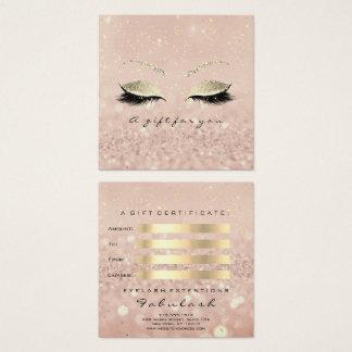 Geschenk-Zertifikat-GoldGlitzer peitscht Quadratische Visitenkarte
