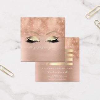 Geschenk-Zertifikat-Rosa-Glitzer-Gold peitscht Quadratische Visitenkarte