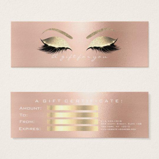 Geschenk-Zertifikat-Rose weißes PinkGold peitscht Mini Visitenkarte