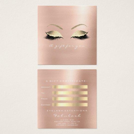 Geschenk-Zertifikat-Rosen-Glitzer-Gold peitscht Quadratische Visitenkarte