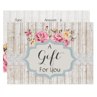 Geschenk-Zertifikat-Shabby Chic-rustikales mit Karte